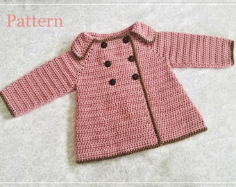 31e4fbefe Crochet PATTERN Baby Girl s Sweater Pattern Sizes 0 - 12 Months Baby Sweater  Baby Coat Pattern Baby Girl Sweater Pattern