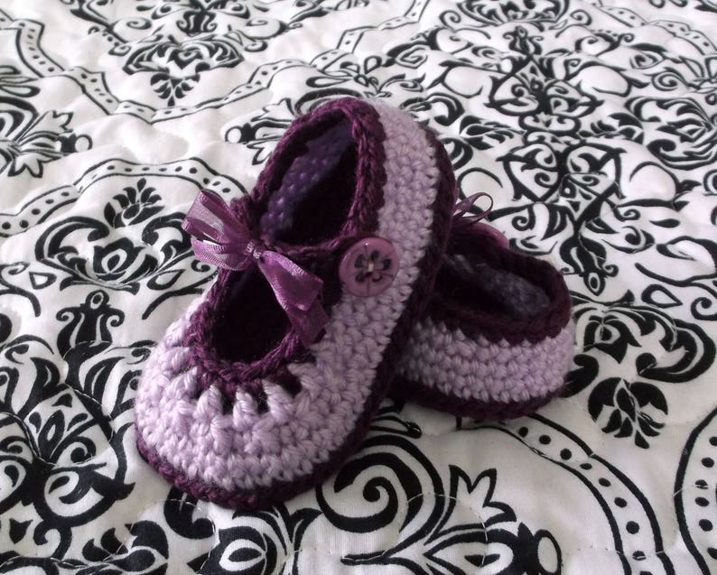 928164836cb5a Crocheted Baby Girl Booties Purple Baby Booties Baby Girl Mary Janes  Crocheted Mary Janes