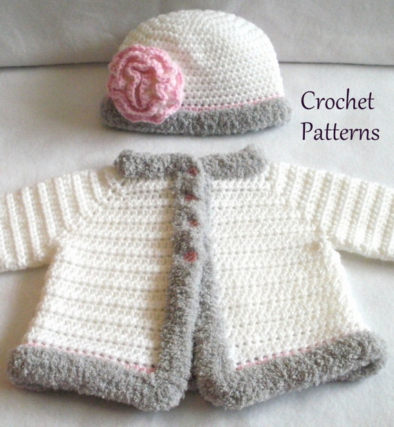 Crochet Pattern Baby Sweater Hat Patterns The Laura Baby Etsy
