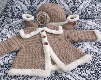 Crocheted Baby Girl's Sweater Boots and Hat Baby Jacket Crocheted Baby Girl's Sweater Booties and Hat Baby Girl's Crocheted Sweater Set
