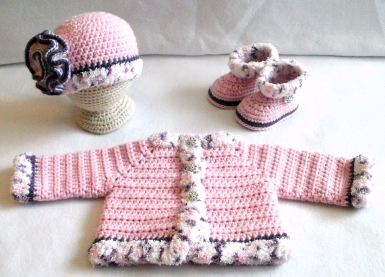 Crocheted Baby Girl/'s Sweater Set Crocheted Pink Baby Girls Layette Crocheted Pink Baby Hat Sweater and Booties Baby Girl/'s Set