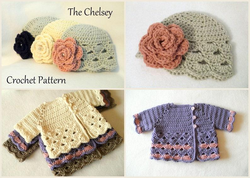 a489b8f450bf Crochet Pattern Baby Girl s Sweater Set Sizes 0 12