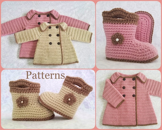 Crochet Pattern Baby Sweater Booties Patterns Baby Girl Etsy