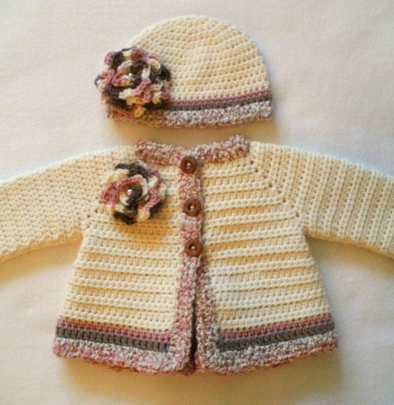 cf22da83723b Crocheted Baby Girl s Sweater and Hat Set Crocheted Baby