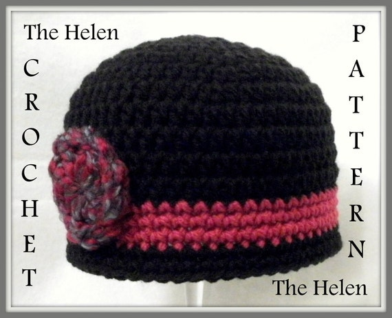 Crochet Pattern Baby Hat Pattern The Helen Flapper Hat Cloche Etsy