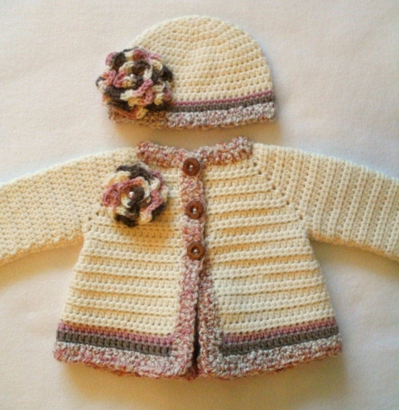 Crocheted Baby Girl/'s Sweater Set Crocheted Baby Jacket Set Baby Girls Layette Crocheted Baby Hat Sweater and Booties Baby Girl/'s Set