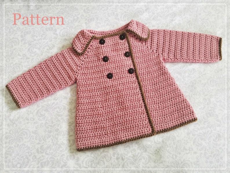 13a12fa10 Crochet PATTERN Baby Girl s Sweater Pattern Sizes 0 12