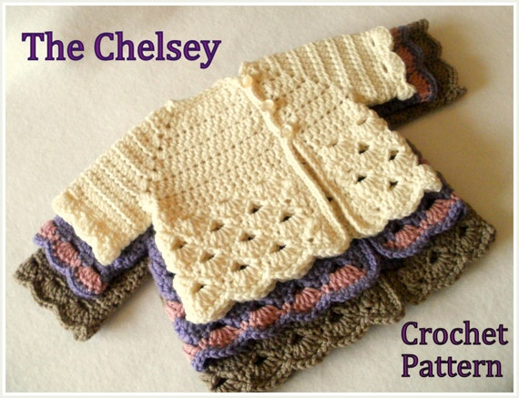 Crochet Pattern Baby Girls Sweater Pattern Sizes 0 12 Etsy