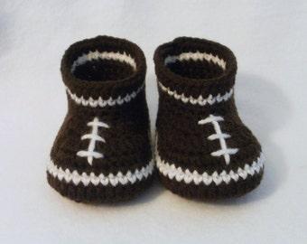 Crochet Baby Booties Football Baby Booties Crochet Football Booties Baby Booties Baby Football Booties Brown and White Football Booties