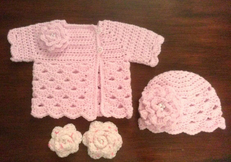 Crocheted Baby Girls Sweater Set Pink Baby Sweater And Etsy