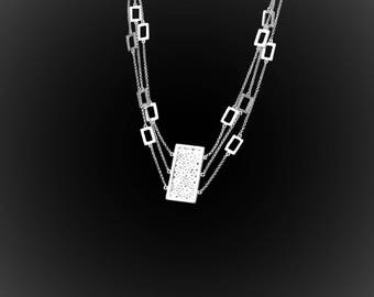 Embroidered with silver square necklace