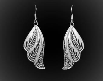 Earrings Tinker Bell in silver embroidery