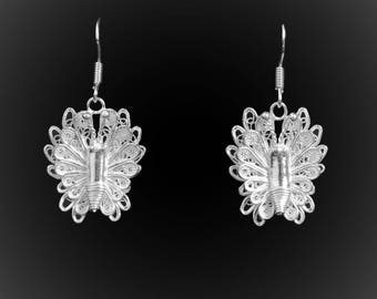Royal Butterfly earrings with silver embroidery