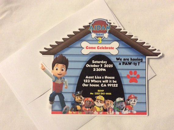 Paw Patrol Personalised Thank You cards With Envelopes