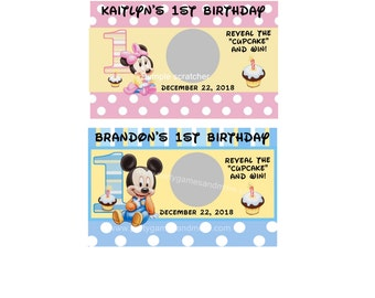 Unique Personalized Baby Mickey or Baby Minnie First Birthday Party Favor Scratch off Lotto Game Cards