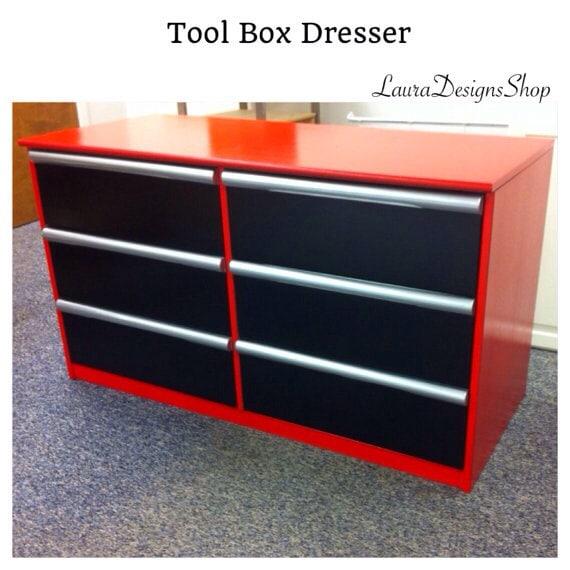 SOLD - Toolbox Dresser - Garage Shop Furniture - Boys Furniture - Race Car Furniture