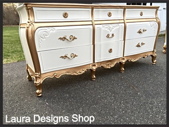 SOLD - SOLD Gold French Provincial Dresser