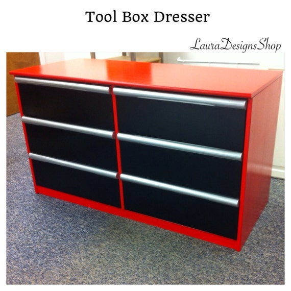 SOLD - ToolBox Dresser - Tool Box Theme Bedroom - Garage Shop Theme Furniture