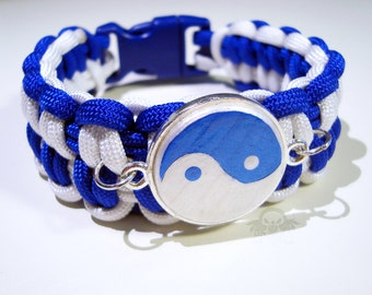 MADE TO ORDER Custom Drift0r Blue and White Yin-Yang Paracord Bracelet
