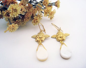 Angels' Tears - Gold Brass Angel Charm Earrings with Mother of Pearl Teardrop Bead