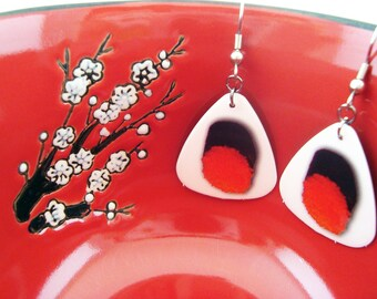 Just Roe With It - Guitar Pick Sushi Roe Themed Dangle Earrings