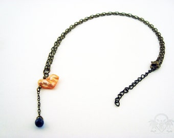 Ocean Hearted - Apricot Colored Heart Shaped Pearl Pendant Necklace