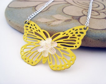 Butterfly Garden - Yellow Enamel Upcycled Butterfly Pendant Necklace