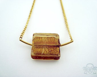 New Kid On The Block - Golden Square Glass Pendant Chain Necklace