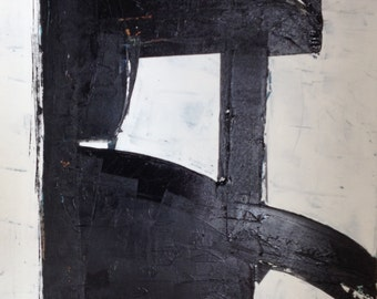 """36""""x24"""" Abstract Black and White Painting/Art"""