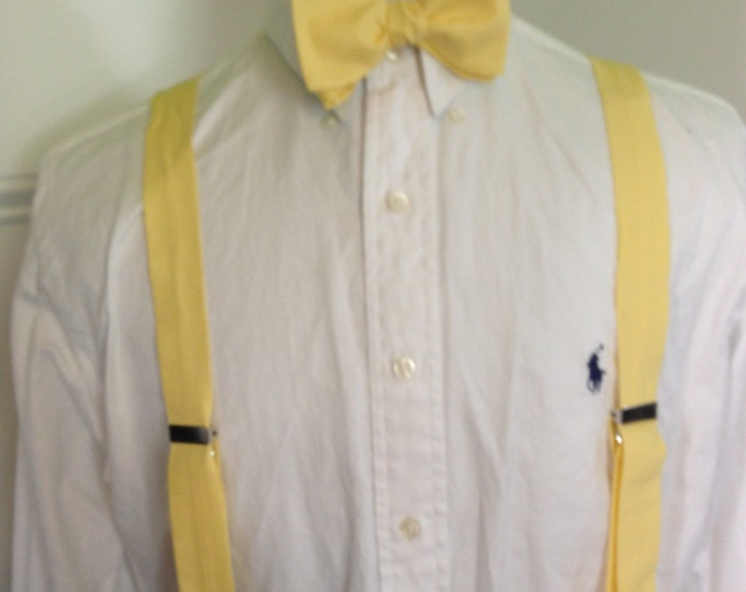 Adult bow tie and suspender set (any shade of yellow you want)