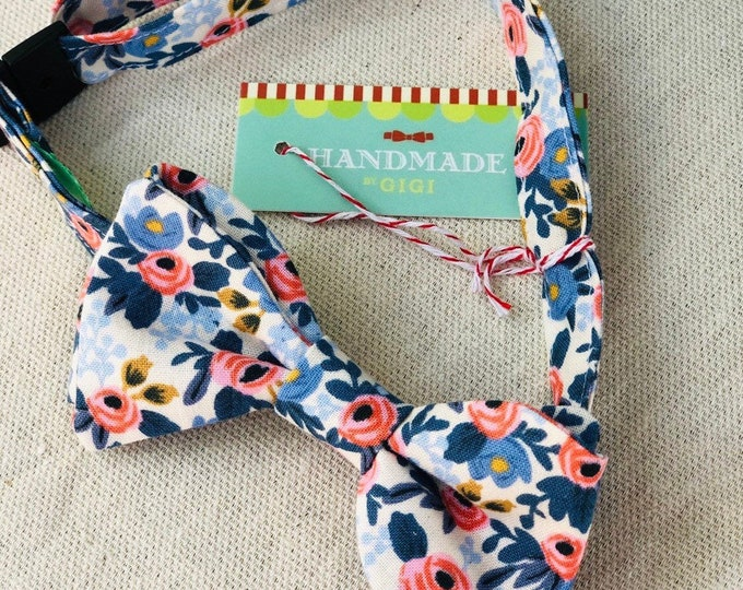 Child Blue Flowers Rifle Paper Co. Bow Tie