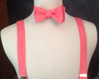 Pink Coral Adult bow tie and suspender set