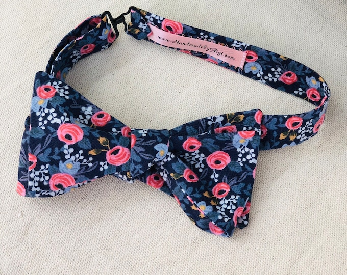 Adult Navy Rifle Paper Co. Bow Tie with Flowers