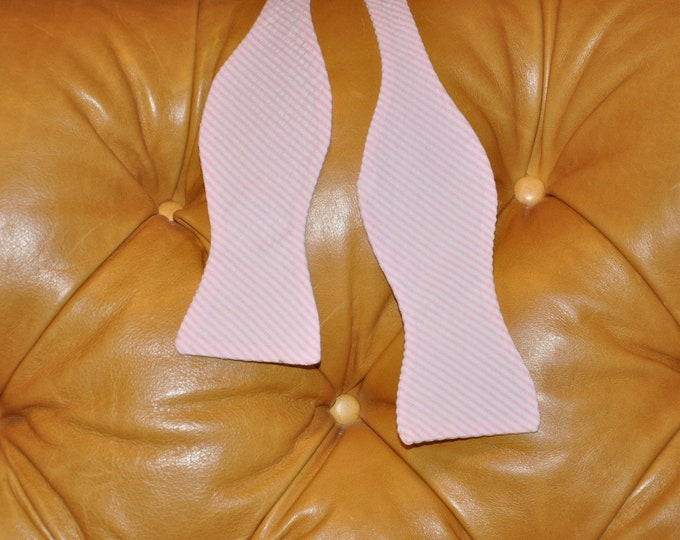 Bow Tie Adjustable Light Pink Seersucker Classic Stripe