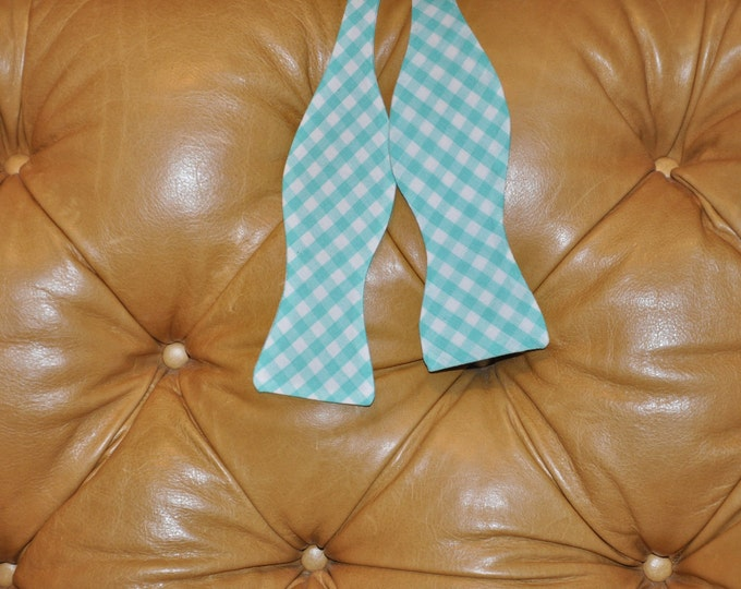 Bow Tie Adjustable Large Gingham Turquoise