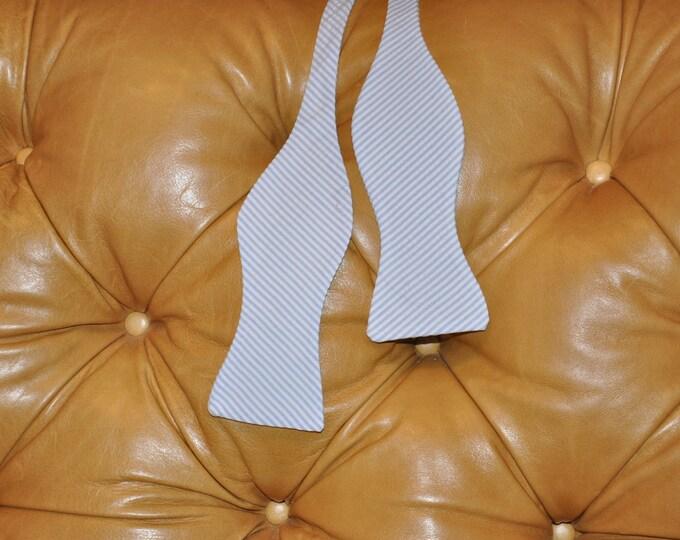 Bow Tie Adjustable Baby Blue Seersucker Classic Stripe