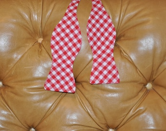 Bow Tie Adjustable Large Gingham Red