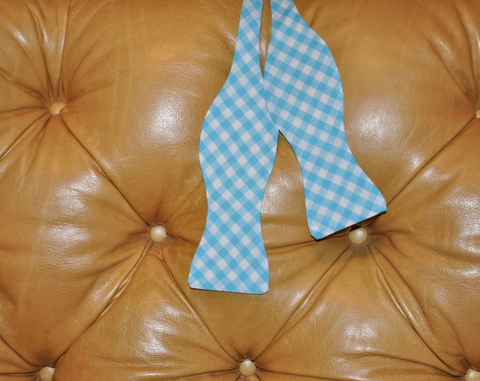 Bow Tie Adjustable Gingham Turquoise