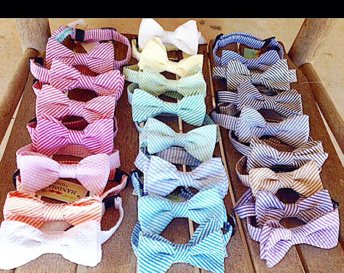 Child Seersucker Classic Stripe Adjustable Bow Tie (pick your color)