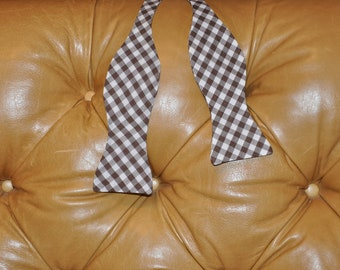 Bow Tie Adjustable Large Gingham Brown
