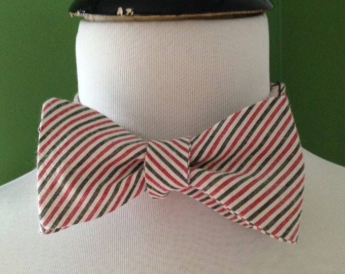 Seersucker red and black Adult Bow Tie Adjustable