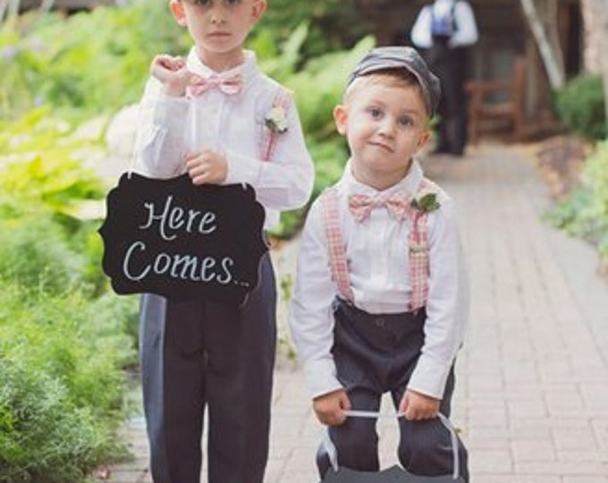 ring bearer Bow Tie and Suspenders Set (Please specify fabric)