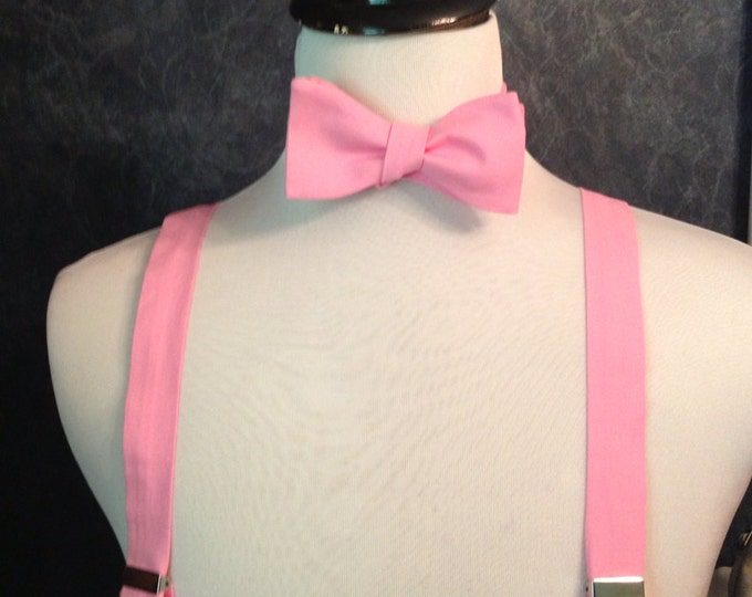 Adult bow tie and suspender set (Carnation)