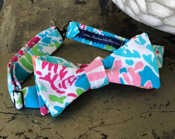 Adult Coral Lilly Pulitzer Bow Tie