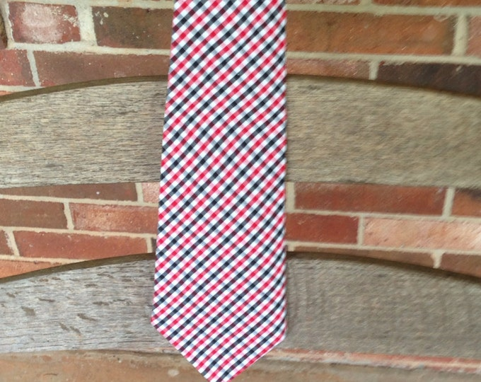Red and black tri-check necktie