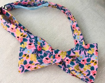 Adult Pink Rifle Paper Co. Bow Tie with Flowers