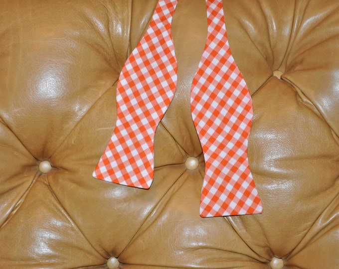Bow Tie Adjustable Large Gingham Orange