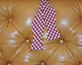 Bow Tie Adjustable Large Gingham Crimson