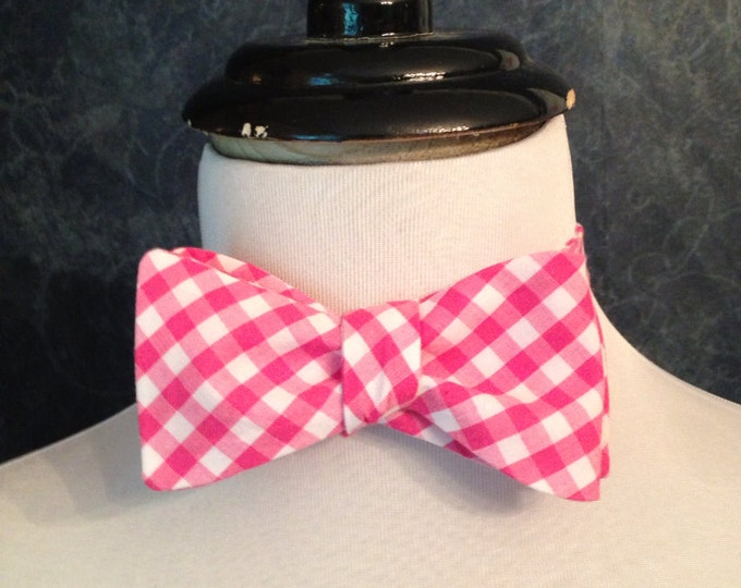 Bow Tie Adjustable Large Gingham Dark Pink