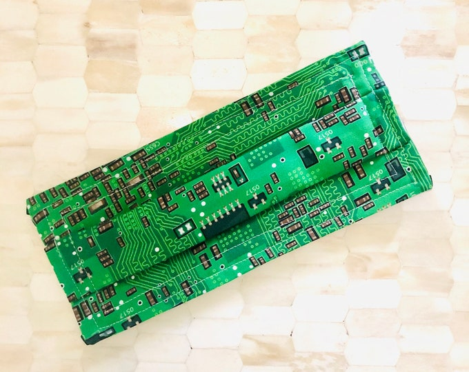 Computer Circuit Board Face Mask (w/ filter pocket and nose wire)